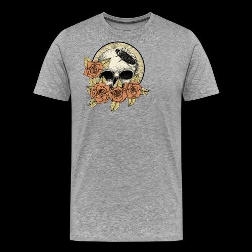 Rose et tête de mort - T-shirt Premium Homme