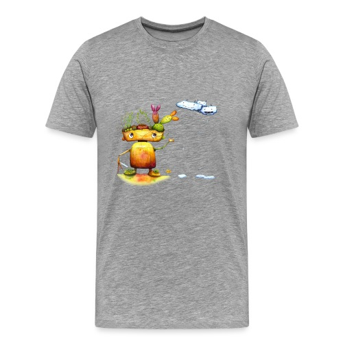 Robot with his plant friends - Mannen Premium T-shirt