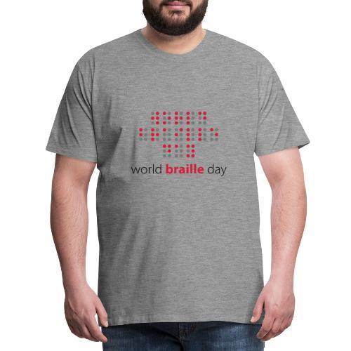 Slogan World braille day. Wereld braille dag. - Mannen Premium T-shirt
