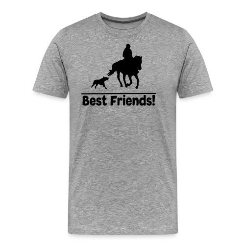 Reiten mit Hund T-Shirt Beste Freunde Pferd-Hund - Männer Premium T-Shirt