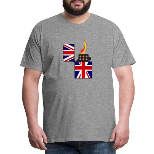 Union Jack Flag Open Cigarette Lighter - Men's Premium T-Shirt