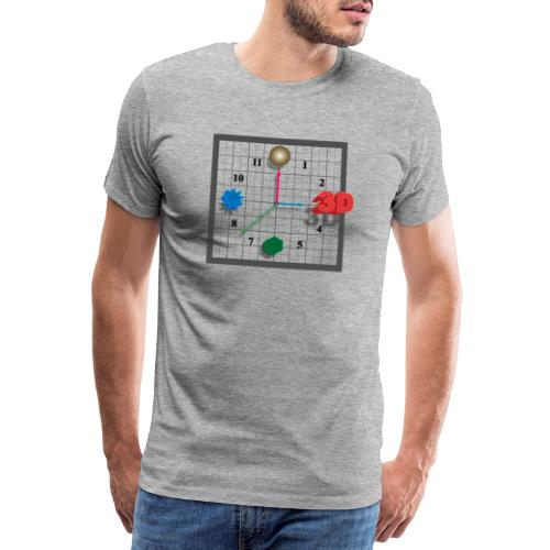 3D O'Clock, Square shape, with numbers and models. - Men's Premium T-Shirt