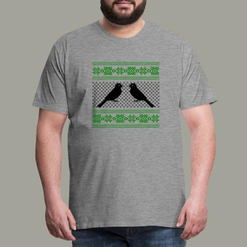 Ptak kanarek zimowy motyw zimowy sweter ptaszki - Koszulka męska Premium