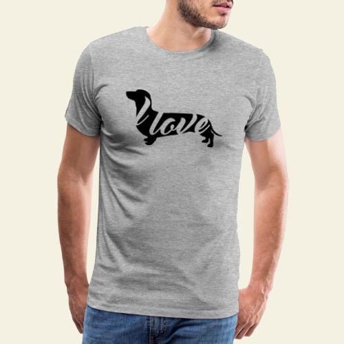 I love Dachshund Black - Miesten premium t-paita