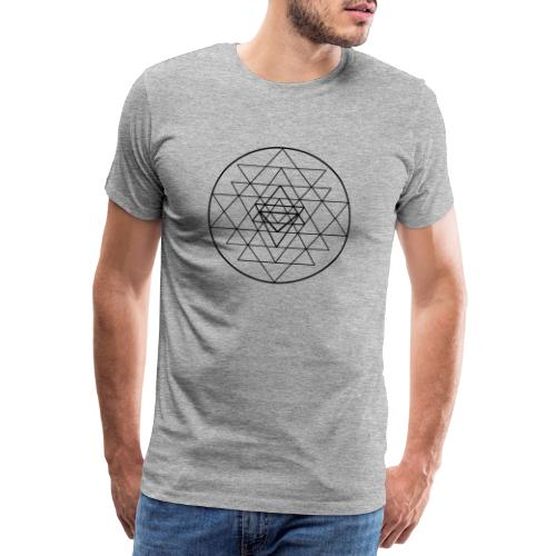 Sri Yantra - black and white - Herre premium T-shirt