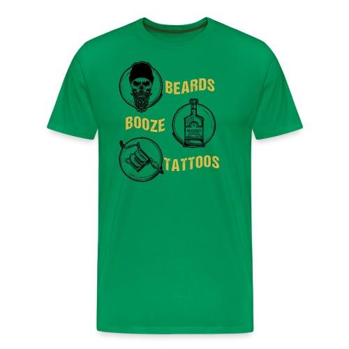 Beards Booze Tattoos Fathers Day Gift - Männer Premium T-Shirt