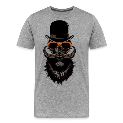 tete de mort crane hipster skull chapeau melon lun - T-shirt Premium Homme