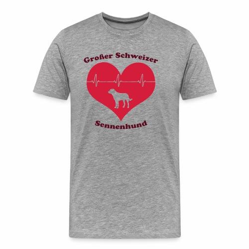 Großer Schweizer Sennenhund Herz und Schriftzug - Männer Premium T-Shirt
