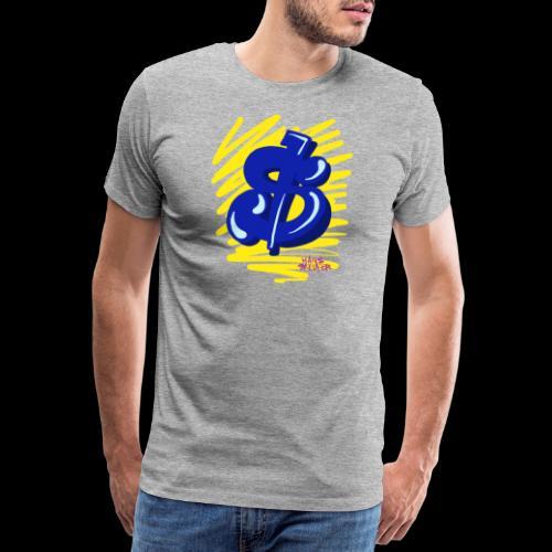 Gele strepen blauwe dollar - Mannen Premium T-shirt