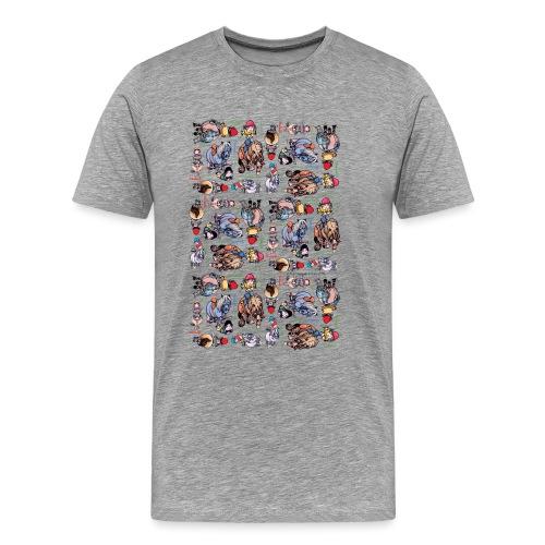 Thelwell Cartoon buntes Pony Muster - Männer Premium T-Shirt