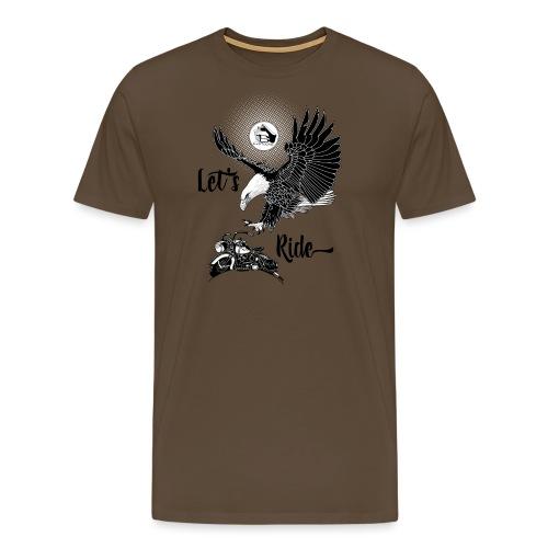 FRONT: 1 eagle 1 bike, BACK: 3 eagles 2 bikes. - Mannen Premium T-shirt