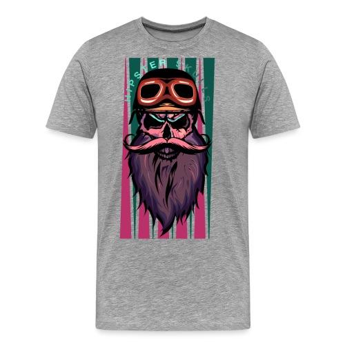 tete de mort hipster crane slull barbe moustache p - T-shirt Premium Homme