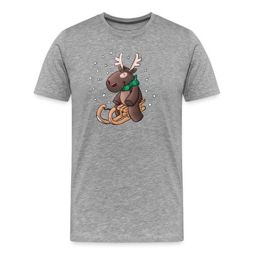Elch - Kuschelelch mit Schlitten - Männer Premium T-Shirt