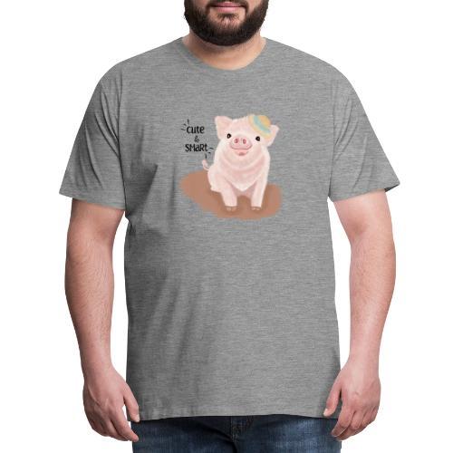 Cute & Smart Pig - Men's Premium T-Shirt