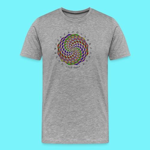 Mandala with Circle Dance words and glyphs - Men's Premium T-Shirt