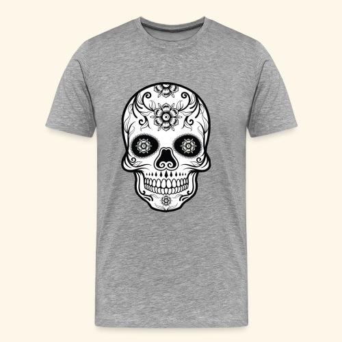 skull and flowers cool - Camiseta premium hombre