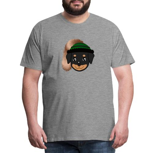 Baby-Rottweiler mit grüner Wadelkappe - Männer Premium T-Shirt
