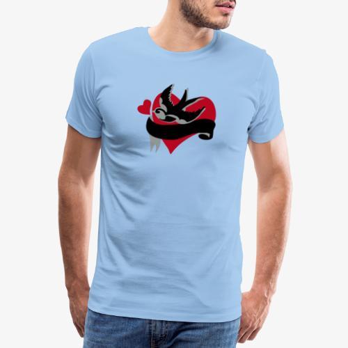 retro tattoo bird with heart - Men's Premium T-Shirt