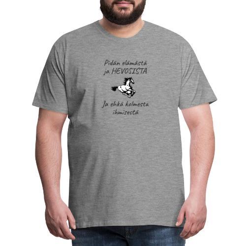 Elämä ja hevoset - Miesten premium t-paita