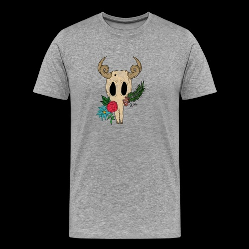 Fantasy-Skull mit Blumen - Männer Premium T-Shirt