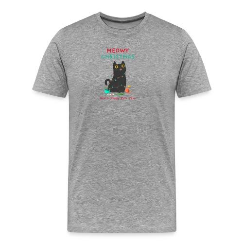 Meowy Christmas ad a Happy Purr year - Mannen Premium T-shirt