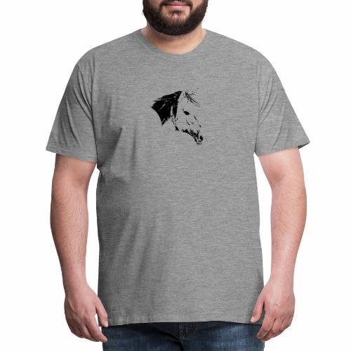 Pferd als schwarze Silhuette - Männer Premium T-Shirt