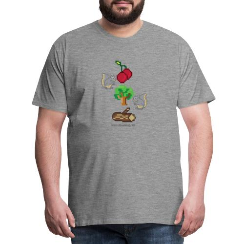 8 Bit Style Cherry Tree Wood Graphic - Men's Premium T-Shirt