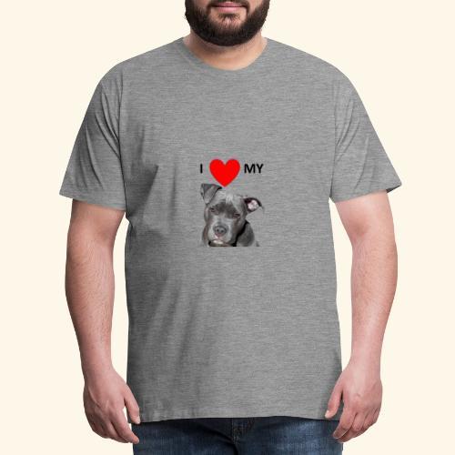 I love my Pitbull Hund Hunde Herrchen Frauchen - Männer Premium T-Shirt