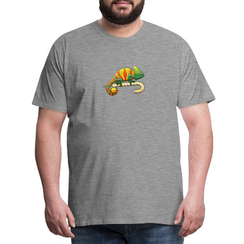 Christmas Chameleon on a Candy Cane - Men's Premium T-Shirt