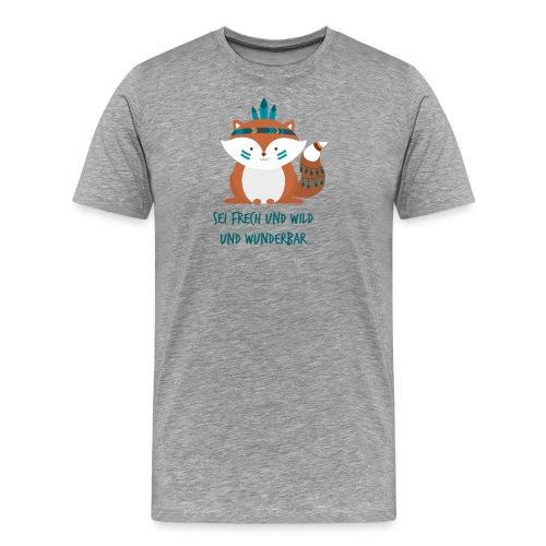 Indianer Fuchs mit Text - Männer Premium T-Shirt
