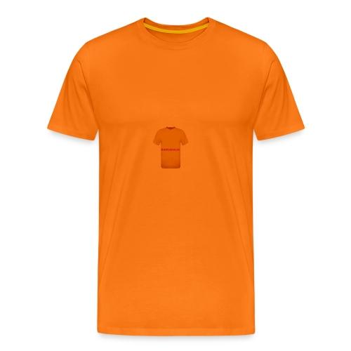 CAMISETA NARANJA CON LETRAS ROJAS-BARRABAJA - Camiseta premium hombre