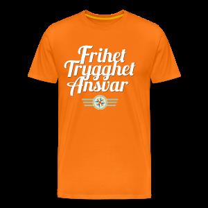 Frihet Trygghet Ansvar m/logo. På oransje - Premium T-skjorte for menn