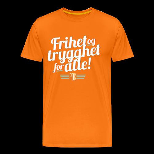 Frihet og trygghet for alle! m/PDK. På oransje - Premium T-skjorte for menn