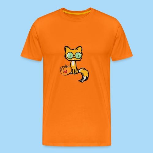 Katze Kürbis Halloween Herbst Orange - Männer Premium T-Shirt