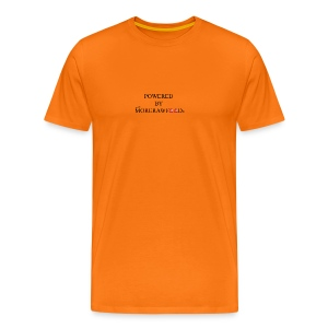 POWERED BY MORERAWFOOD SCHWARZER TEXT - Männer Premium T-Shirt