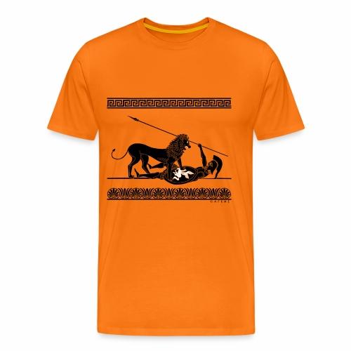 Hoplit und Löwe (schwarz auf rot) - Männer Premium T-Shirt