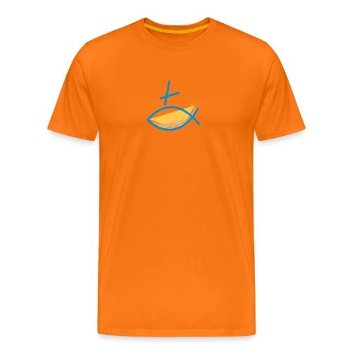 Altkatholischer Logo Fisch Blau/Gelb - Männer Premium T-Shirt