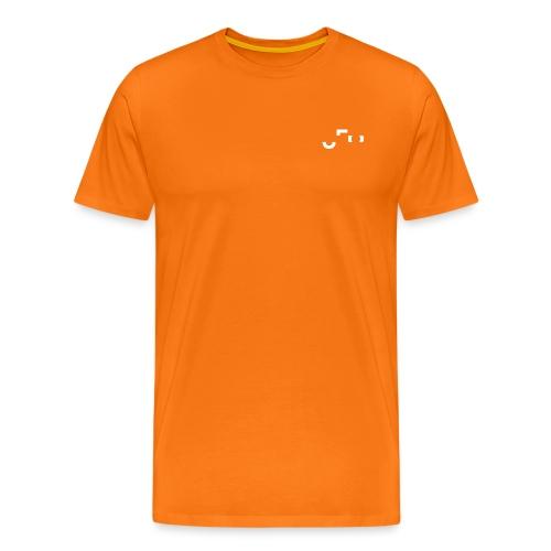 Orange Shirt Small White Pocket Logo Front & Back - Männer Premium T-Shirt