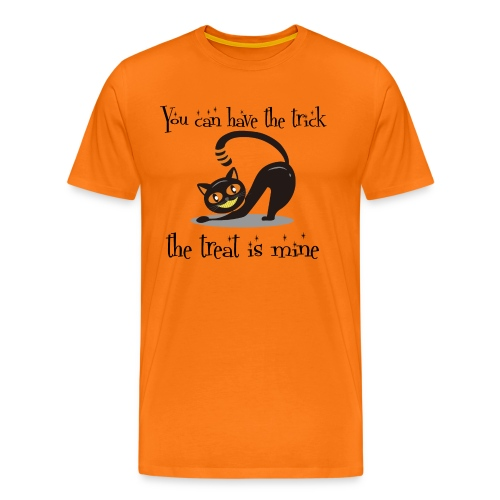 Grinning Cat Lover Halloween Trick or Treat Black - Men's Premium T-Shirt