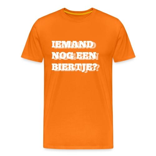 Iemand nog een biertje?? Dubbel kijken print - Mannen Premium T-shirt