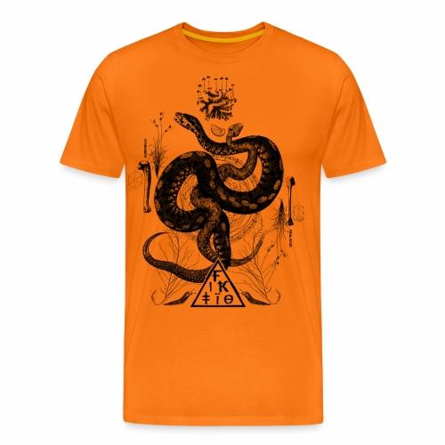 Fiktio käärmeprintti musta - Miesten premium t-paita
