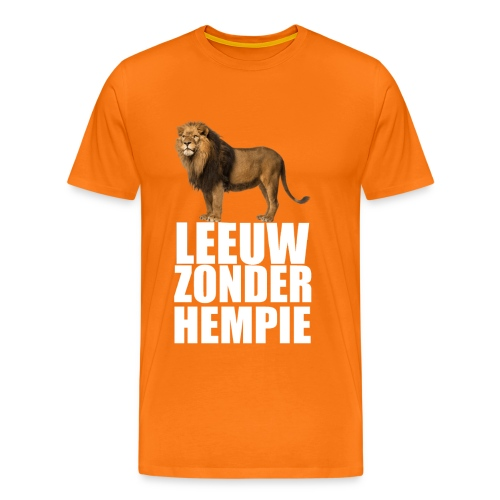 (Oranje) Leeuw Zonder Hempie - wit - Mannen Premium T-shirt