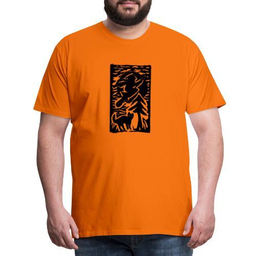 Hexe mit Katze - Männer Premium T-Shirt