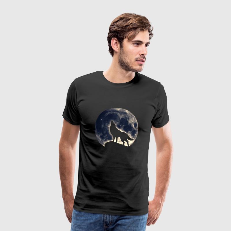 Heulender Wolf, Vollmond, fantasy, Magie, Symbol - Männer Premium T-Shirt
