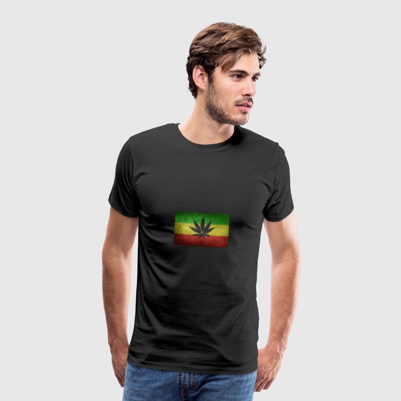 Bandera de Jamaica y marihuana - Camiseta premium hombre