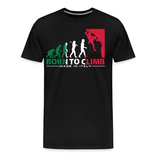 ROCK CLIMBING EVOLUTION BORN TO CLIMB ITALY - Men's Premium T-Shirt