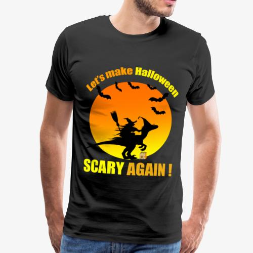 Witch raiding Dinosaure on Halloween - T-shirt Premium Homme