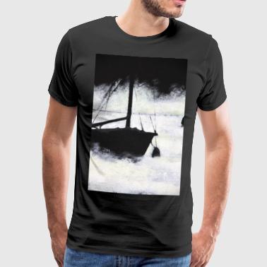 båt innsjø tåke mystisk maleri akryl seil tåke - Premium T-skjorte for menn