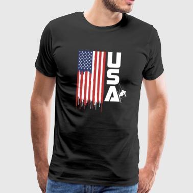 USA Flagge Ski Alpine Skifahrer - Männer Premium T-Shirt