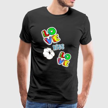 Pop art rakkautta ja suudelma - Miesten premium t-paita